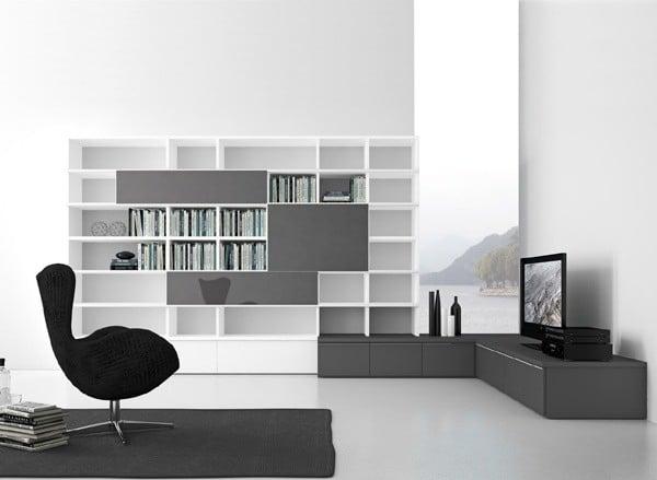 Presotto - Parete attrezzata-libreria ad angolo Pari&Dispari 319