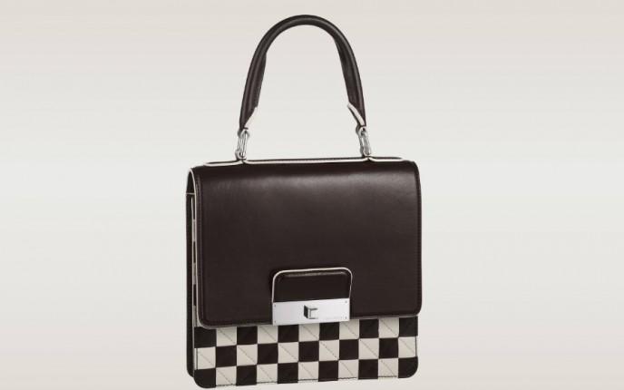 Borsa Louis Vuitton in pelle di vitello effetto Damier bianco e nero.