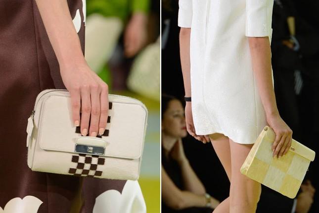 Clutch che rimarcano lo stile: squadrate e a scacchi.