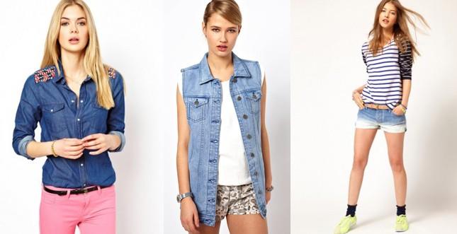 Asos- camicia con applicazioni ricamate sulle spalle; giacca lunga senza maniche; shorts effetto candeggiato