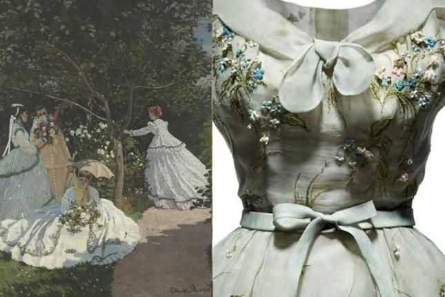 A sin: Claude Monet, Le dejeune sur l'herbe, 1865-1866, © Musée d'Orsay. A des.: Abito di organdì blu pallido ricamato con fiori blu e rosa. Coll. Haute Couture P/E 1953, linea Tulipe.