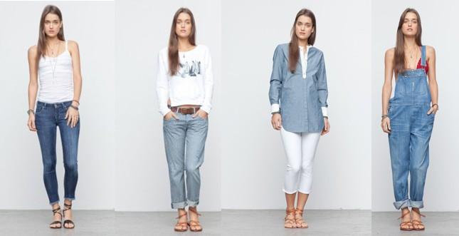 Citizens of Humanity - skinny; boyfriend con stampa a righe; camicia con polsini e profili a contrasto; salopette