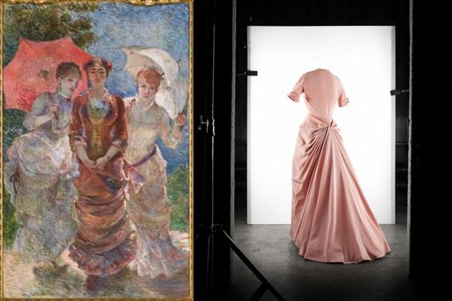 A sin: Marie Bracquemond, Trois femmes aux ombrelles, olio su tela, Paris Musée d'Orsay. A des: abito da sera Fête di faille rosa boreale. Collezione Haute Couture P/E 1948.