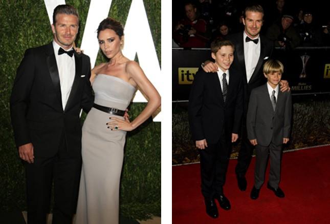 David e Victoria; il papà con i figli Brooklyn e Romeo