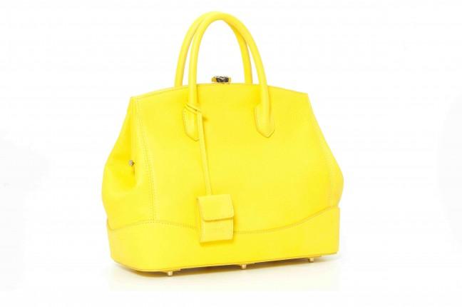 Desmo handbag in vitello martellato giallo fluo