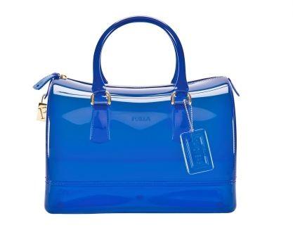 Furla Candy Bag in pvc blu fluo