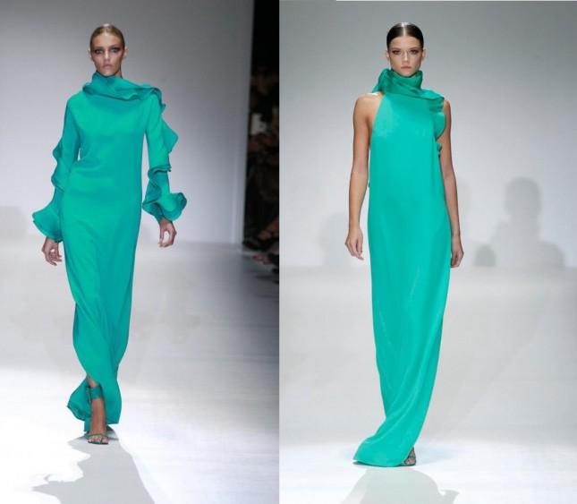 Maxi dress acquamarina collezione Gucci estate 2013