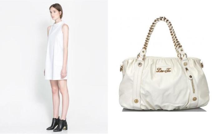 Abito bianco di Zara e borsa Lui Jo Kate