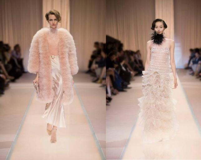Sfilata Armani Privè long dress da sera pizzo e balze e completo raso e pelliccia stile anni venti