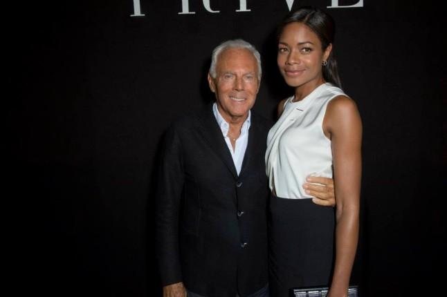 Sfilata haute couture Armani Privè - Giorgio Armani con Naomie Harris
