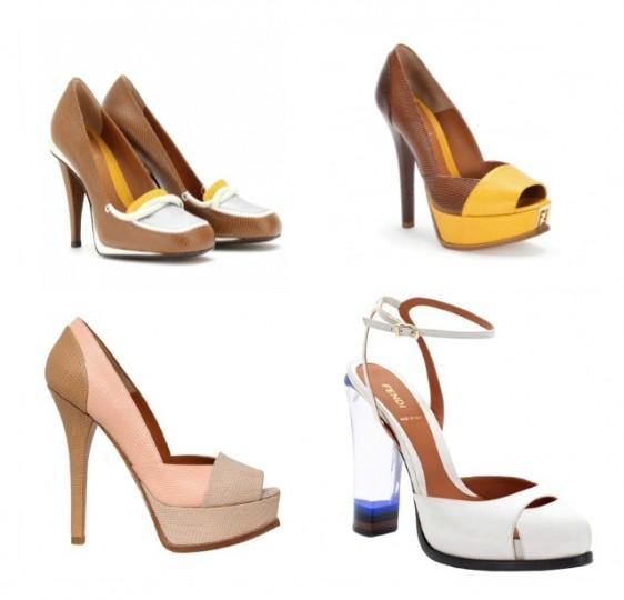 Mix di décolleté Fendi collezione primavera/estate 2013 in vernice e colori tenui. Open toe e cinturino regolabile alla caviglia