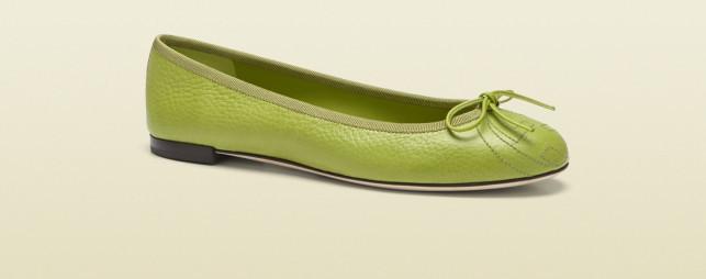 Ballerina Gucci pelle verde tacco 5cm logo in punta pe 2013