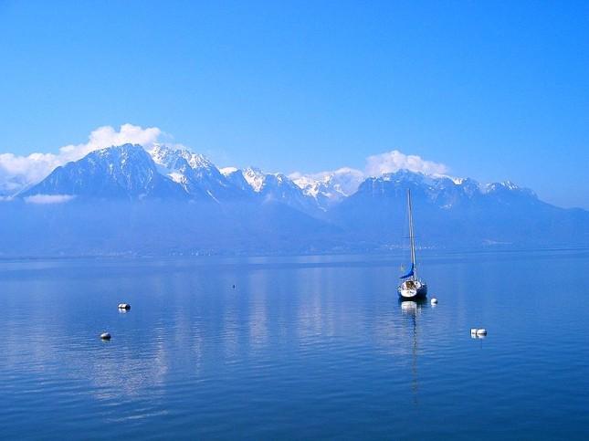 Il lago di Lemano, vista da Montreaux