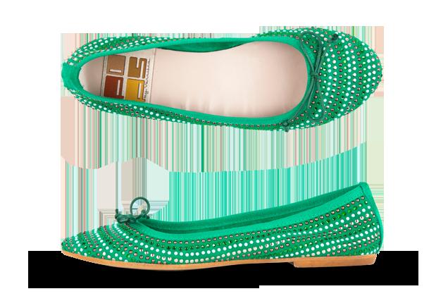 Ballerine verdi Pops con piccole borchie argentate e fiocco pe 2013