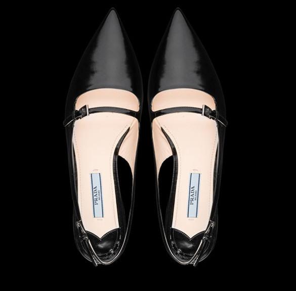 Ballerine Prada nere vitello spazzolato modello chiuso pe 2013