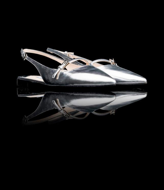 Ballerine Prada modello Sabot argento vitello specchio 2013 tacco 10mm