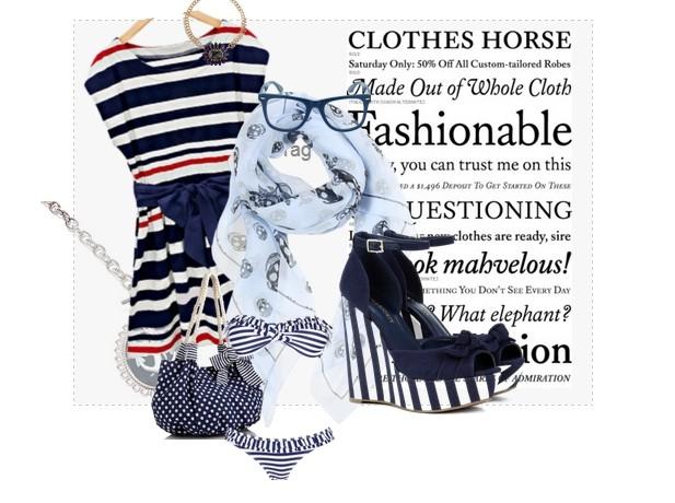 Occhiali, scarpe, borse e capi d'abbigliamento in stile navy
