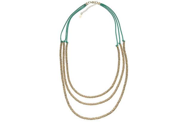 Collana con perline e laccetti in stoffa