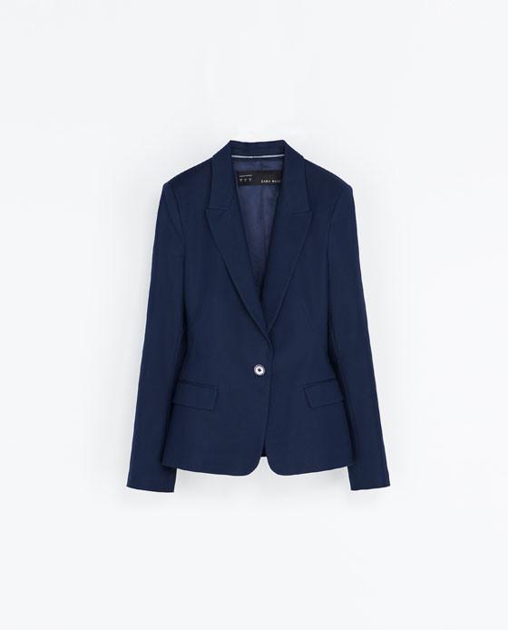 Blazer blu a un bottone di Zara
