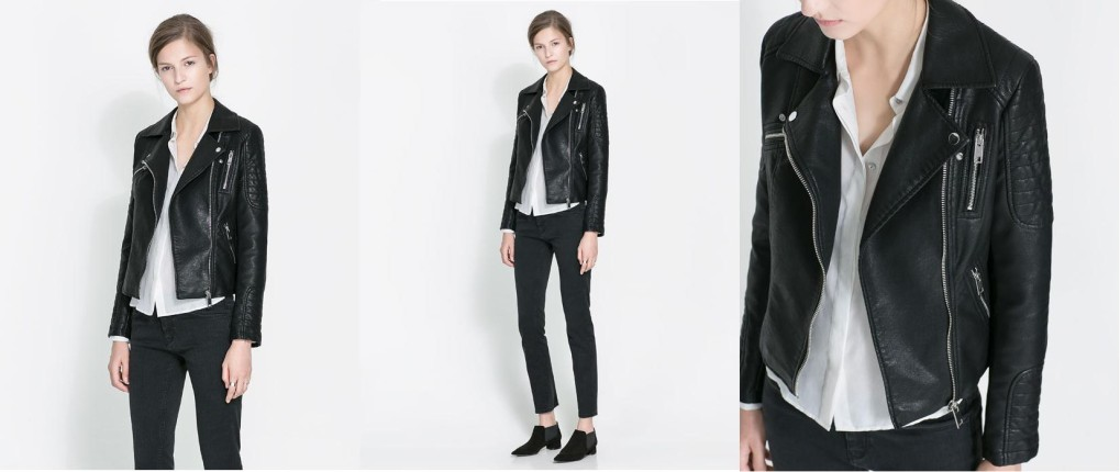 Giacca nera di pelle Zara