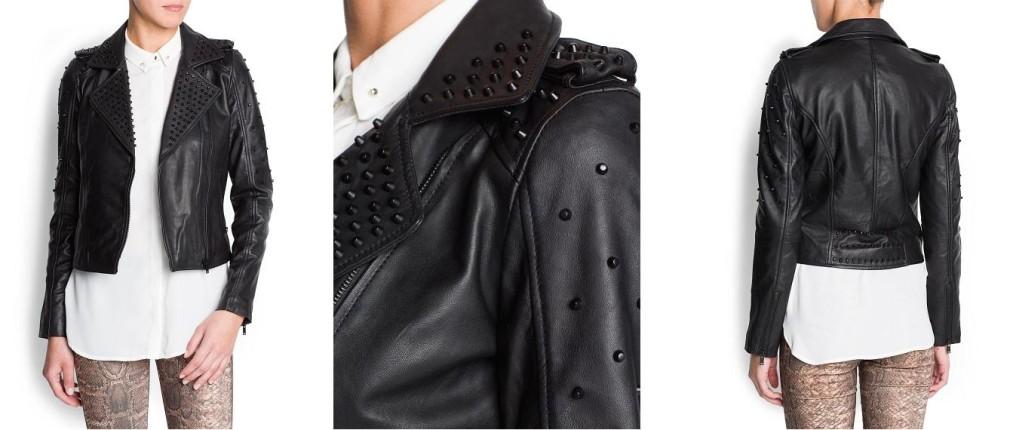 Zara: borchie nere su risvolti e spalle