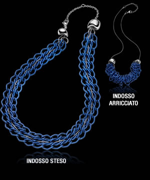 Breil collana Rockmantic azzurra modello steso e arricciato