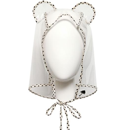 Maison Michel cappello in PVC e raso di seta a pois con orecchie da gatto.