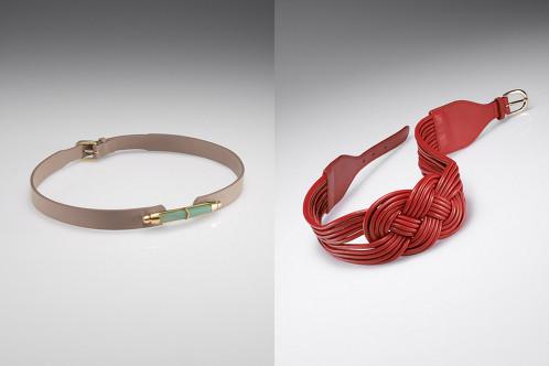 Cinture: a sinistra, color bamboo e giada; rossa con nodo