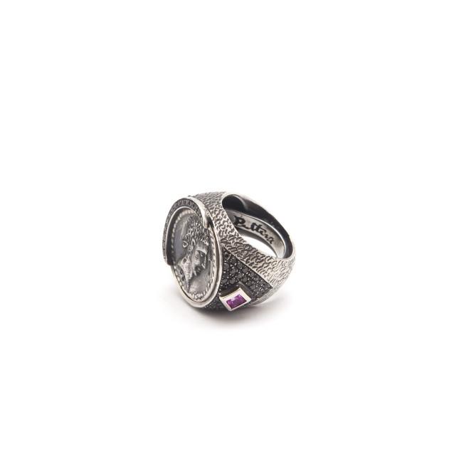 Gioielli Puttini: Anello argento brunito brillanti neri e zaffiri rosa