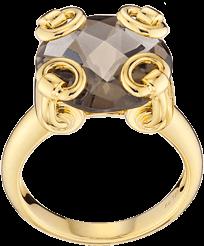 Gucci propone l'anello horsebit cocktail, modello piccolo in oro giallo 18 kt e sceglie come pietra un elegante quarzo fumé, acquistabile al sito online guccitimeless.com