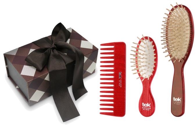 Set di spazzole da borsa: spazzola ovale in legno laccato, pettine a denti larghi e spazzola mini