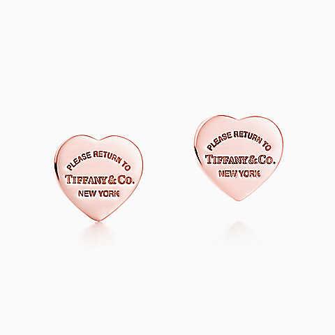 Orecchini piastrina a cuore mini Return to Tiffany™, in metallo RUBEDO™