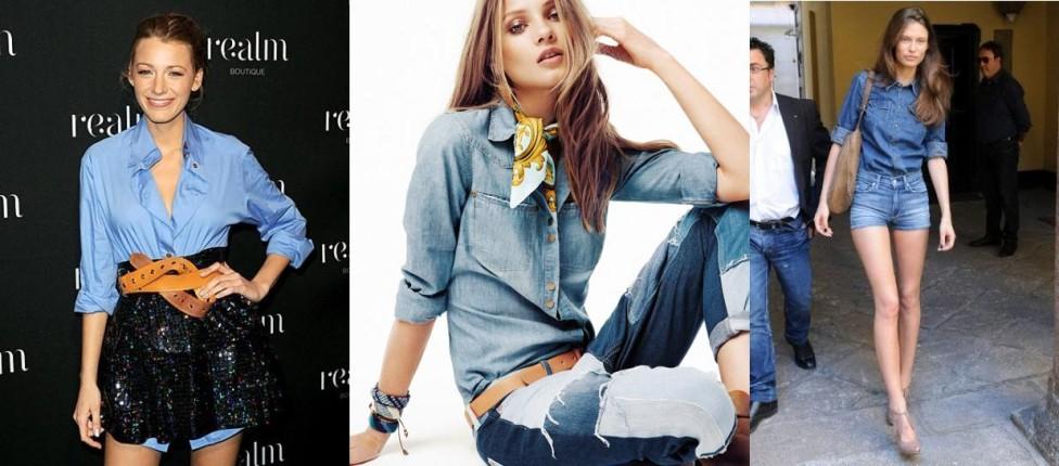 Blake Lively a sinistra e Bianca Balti a destra: gli outfit ideali per indossare la camicia di jeans