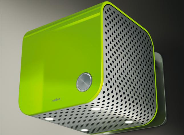 Per un tocco brioso e smart ci si può orientare su  questa 35CC verde con guscio forato Dynamique, installata  a parete