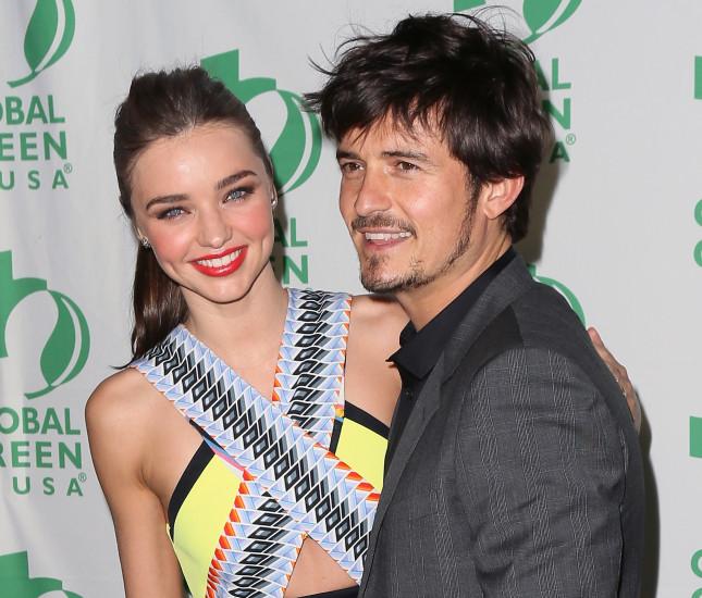 La top model Miranda Kerr e l'attore Orlando Bloom al 10° Pre-Oscar Party, Global Green, affiatati e felici, il vento della crisi doveva ancora infuriare sul rapporto