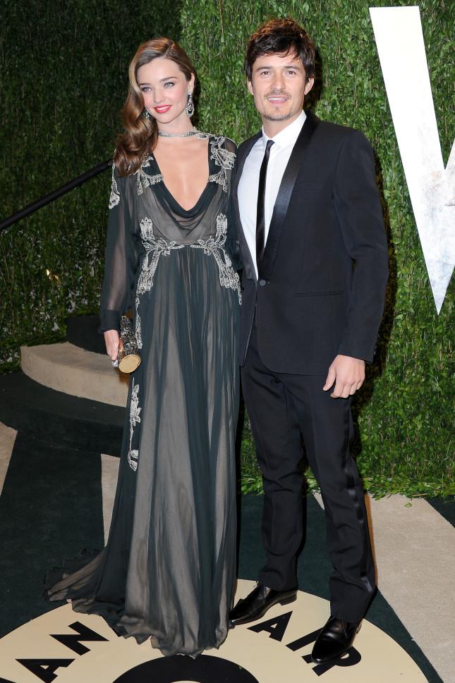 Miranda Kerr e Orlando Bloom in occasione del Vanity Fair Oscar Party, nel febbraio 2013, quando ancora la crisi tra i due era lontana