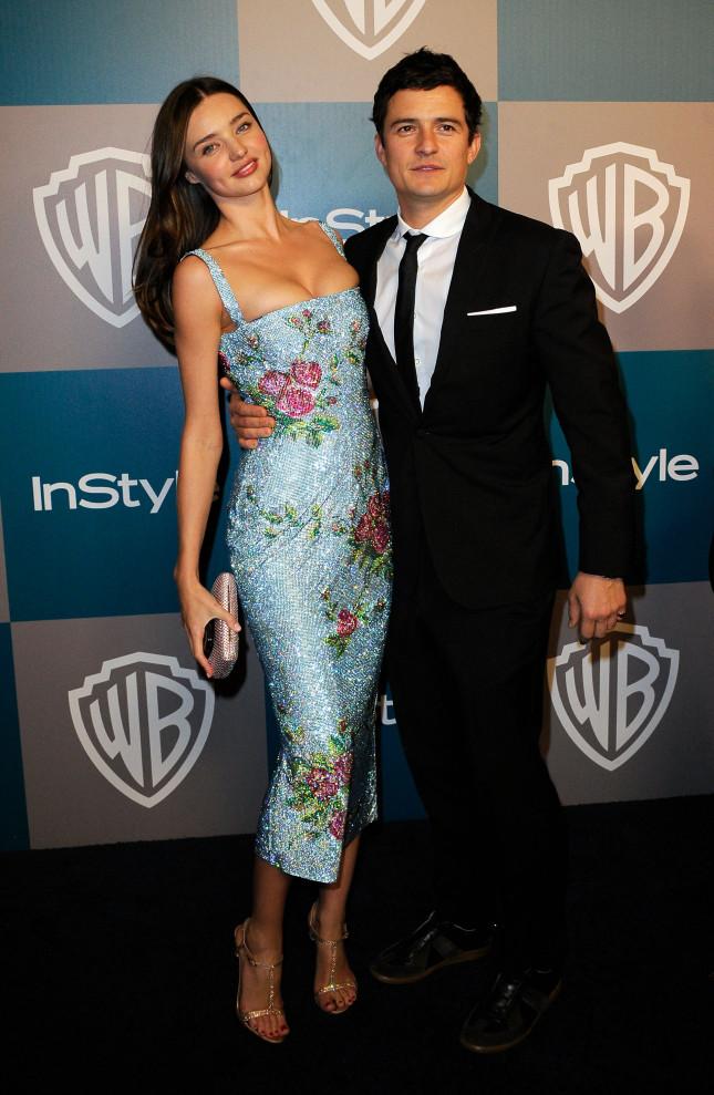 Miranda Kerr e Orlando Bloom posano insieme, bellissimi e innamorati, in occasione del 13° Anniversario Warner Bros. e InStyle Golden Globe Awards, in data 15 gennaio 2012