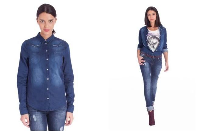 Camicia di jeans con strass di Motivi