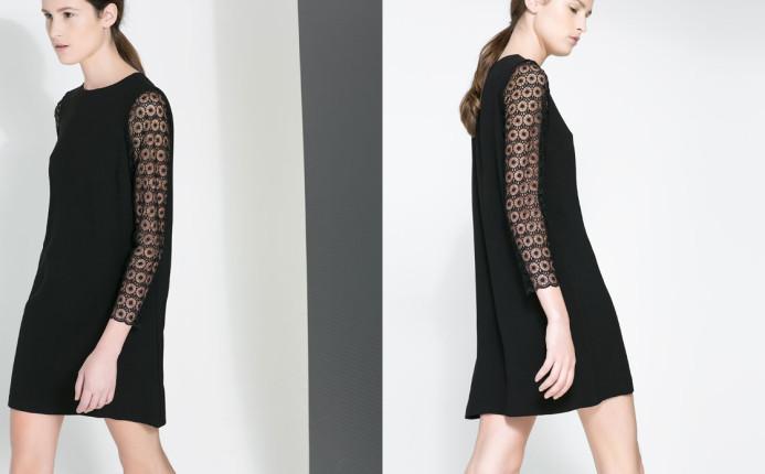 Vestito nero con maniche in guipure,  €49,95. Zara.