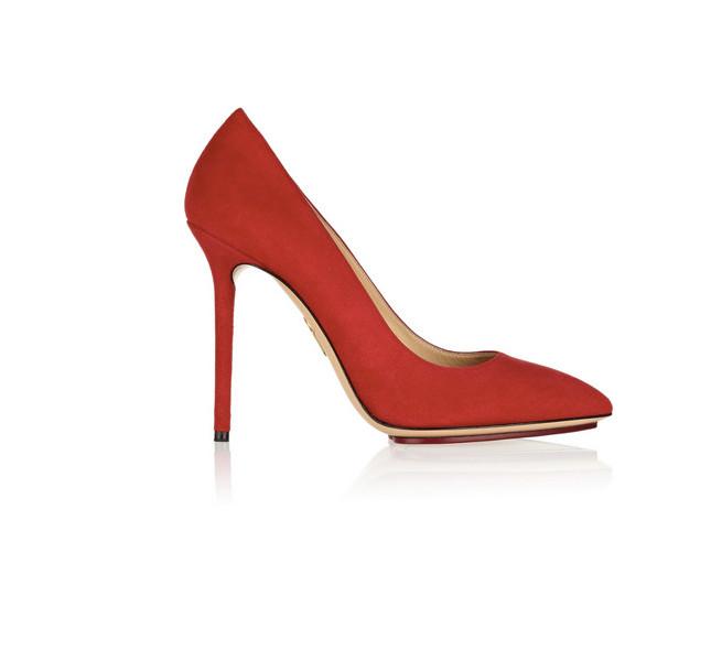 Scarpe in raso rosso Charlotte Olympia