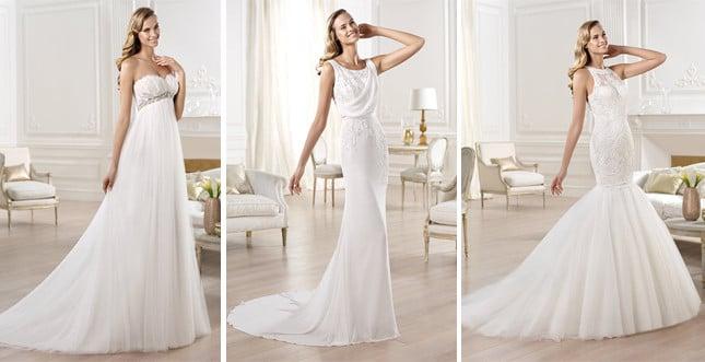 Linea Fashion di Pronovias: (da sx) abiti Ojeda, Olivei e Olena