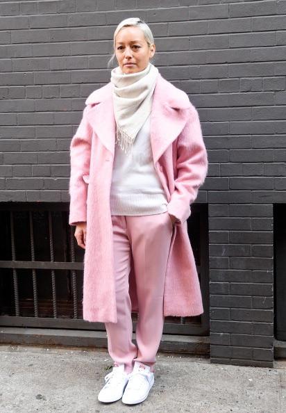 Cappotto e pantalone rosa
