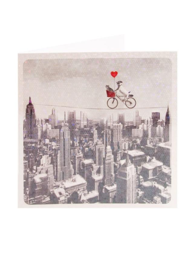 Un Valentine particolare con città in bianco e nero e cane e gatto in bicicletta su una fune, Clintons.