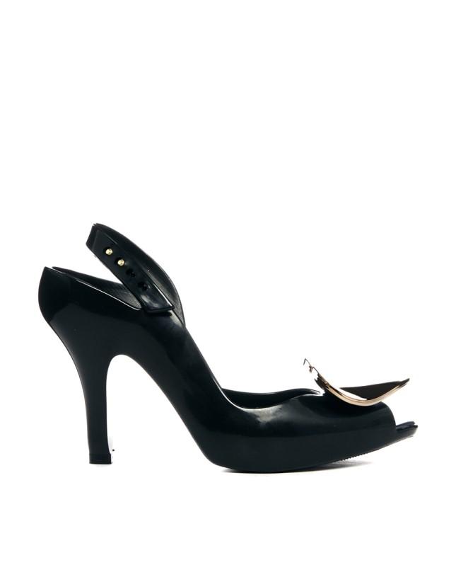Sandali cromati neri con tomaia in gomma con dettaglio cuore, Vivienne Westwood for Melissa