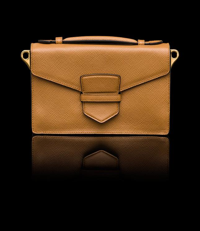 Mini bag in saffiano cuir con maniglia singola in pelle e tracolla rimovibile e regolabile