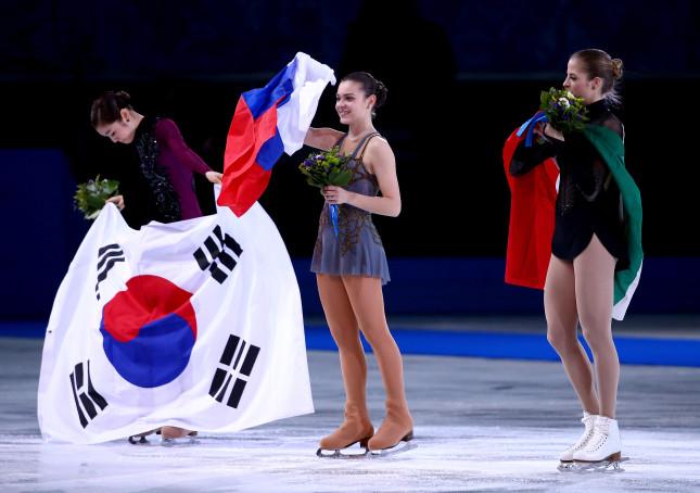 Carolina Kostner, Yu-Na Kim e Adelina Sotnikova