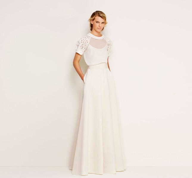 Abito Max Mara bridal Collection con spalline e lavorazione laser.