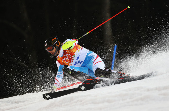 Mario Matt, oro nello slalom, in uno spettacolare passaggio