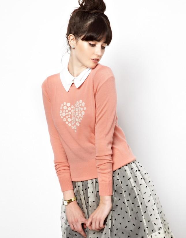 Maglia rosa in lana merino con stampa a cuore sul davanti, di Orla Kiely per Asos