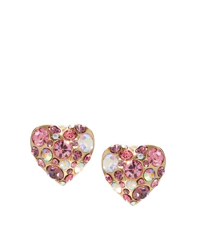 Orecchini a bottone con cuore e strass nelle nuances del rosa, di River Island per Asos